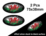 2pcs Fade To Black OVAL Design & Welsh Wales CYMRU Flag Vinyl Car sticker decal 75x38mm